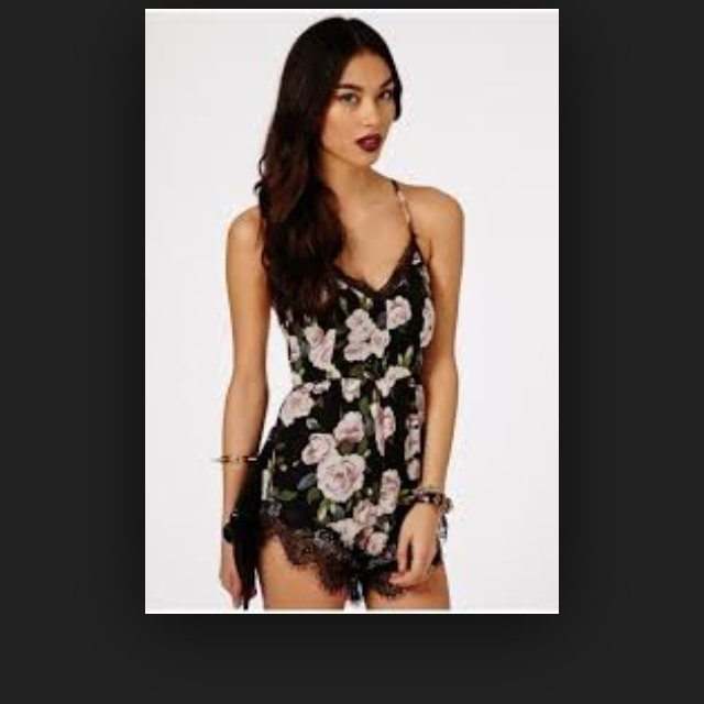 932507bb7b5 Alava rose print chiffon playsuit from missguided- worn once - Depop