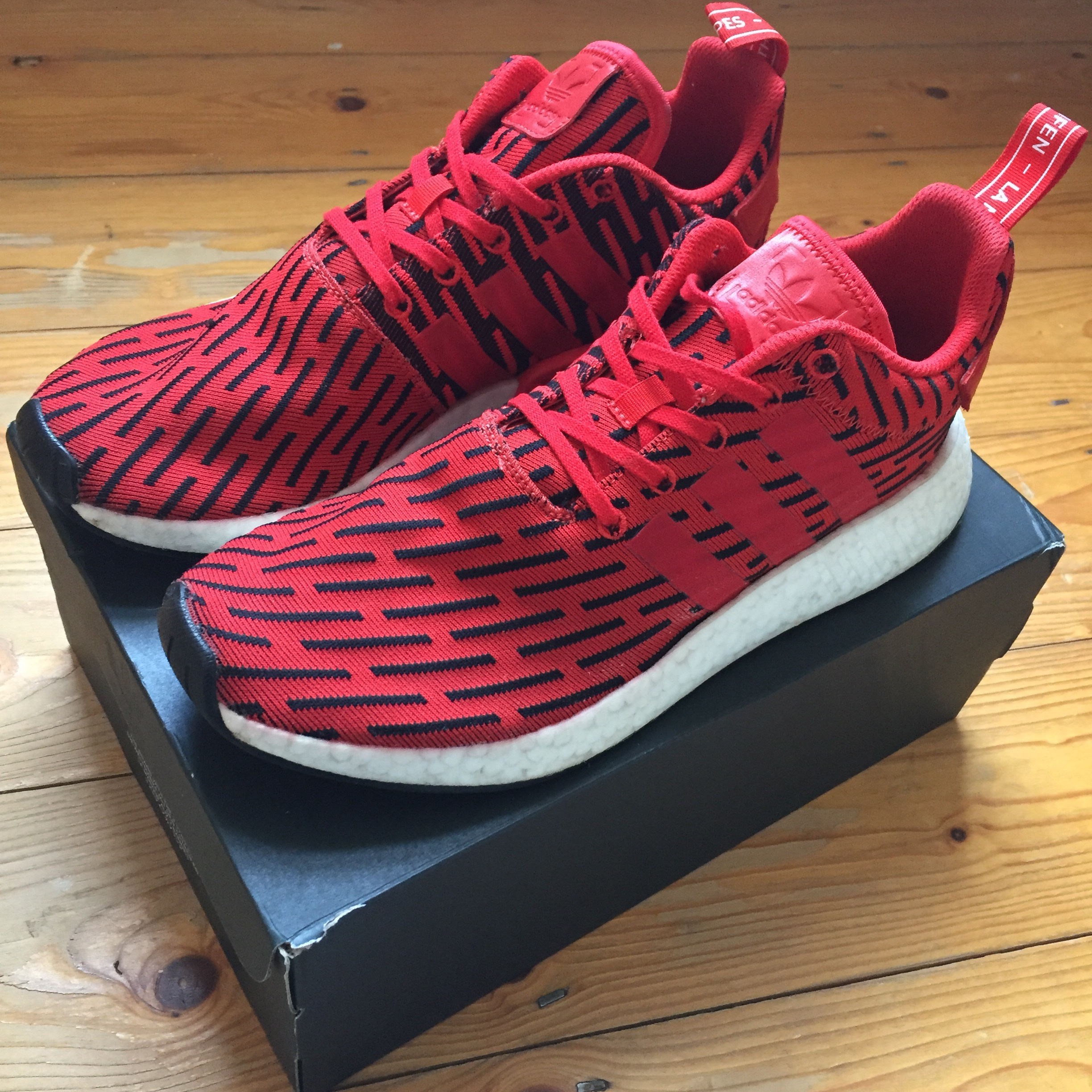 the best attitude 816ca c82f6 Adidas NMD R2 JD Sports Red Black Trainers 🔴⚫️ Used ...