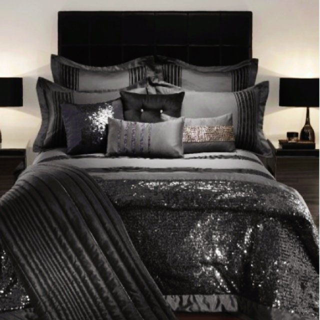 Kylie minogue bedding throw in black sequin been used but for Black and burgundy bedroom ideas