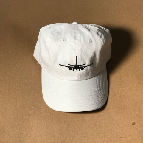 10c7f852641f8 Brand New White Dad Hat Black Plane Embroidery (front) Catch - Depop