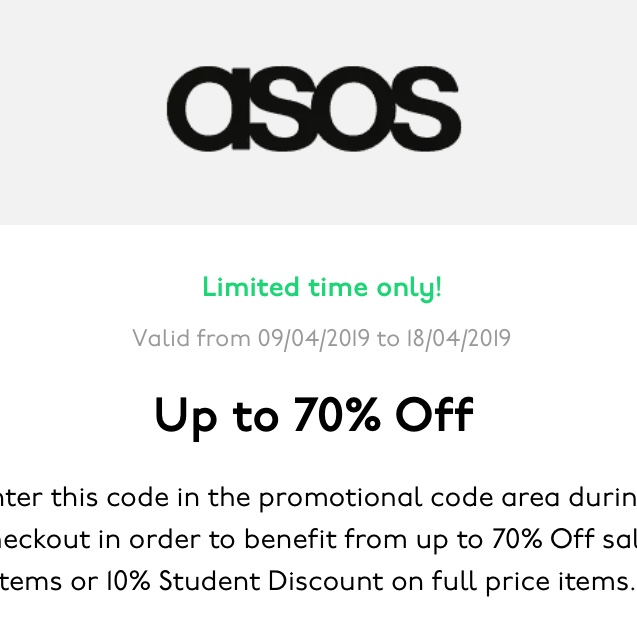outlet store sale newest available 10% off ASOS online student discount code for @elamb - Depop