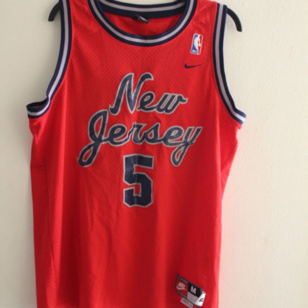 super popular 76238 a7983 Nike New Jersey nets jersey # 5 Jason Kidd size... - Depop