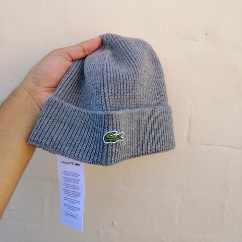 412792c07cc93 Brand new authentic Lacoste ribbed wool beanie With grey I - Depop