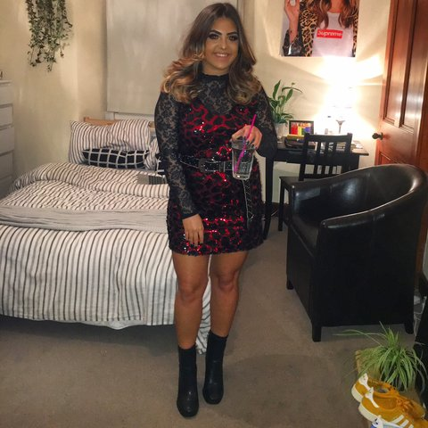 7978f31acc97a9 @sazzzel. 6 months ago. Glasgow, United Kingdom. Zara red and black sequin  vest dress in M, I paired it with a long sleeve lace top underneath and a  belt ...