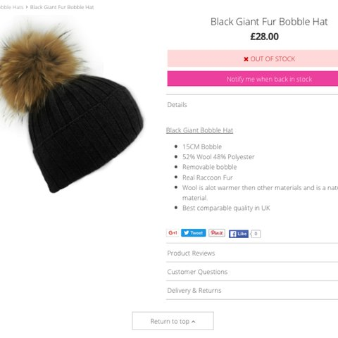 1bf59233324 Noughts and Kisses real raccoon fur black bobble hat. Never - Depop