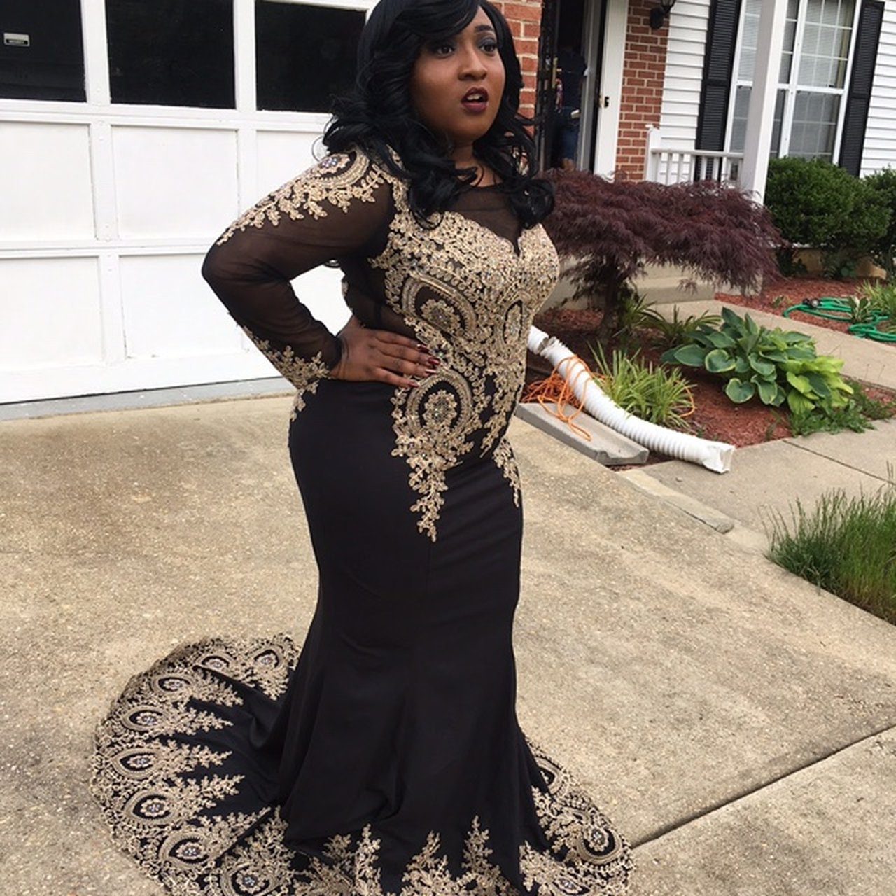 bfc687b829fb Black And Gold Fitted Prom Dress - raveitsafe