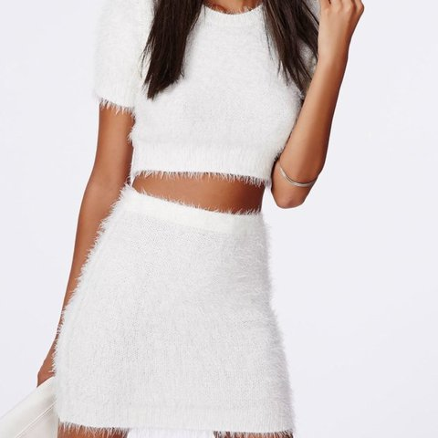 61726c9d3 Missguided white fluffy fuzzy Faux fur co-ord two piece set. - Depop