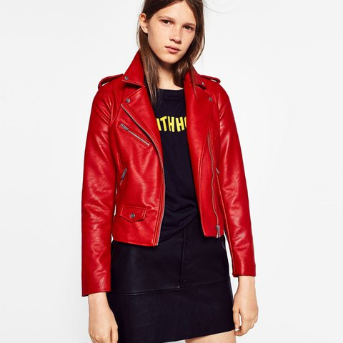 dd5bff240347 @fbxx. 2 years ago. Shenley Church End, United Kingdom. Zara Red Faux  Leather Biker Jacket ...