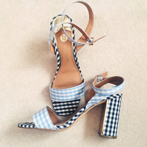 56045669e1d River Island size 7 blue gingham check strappy heels with on - Depop