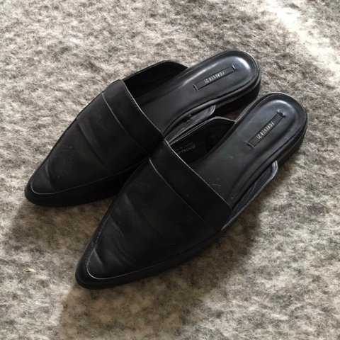 4f979de89f6 Black faux leather mules from Forever 21 size 8