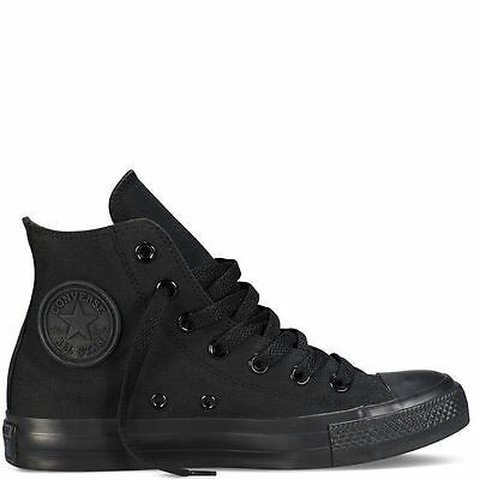 06f514d9bed37 ALL BLACK HI CONVERSE TRAINERS (£44) (NEW) The Chuck Taylor - Depop
