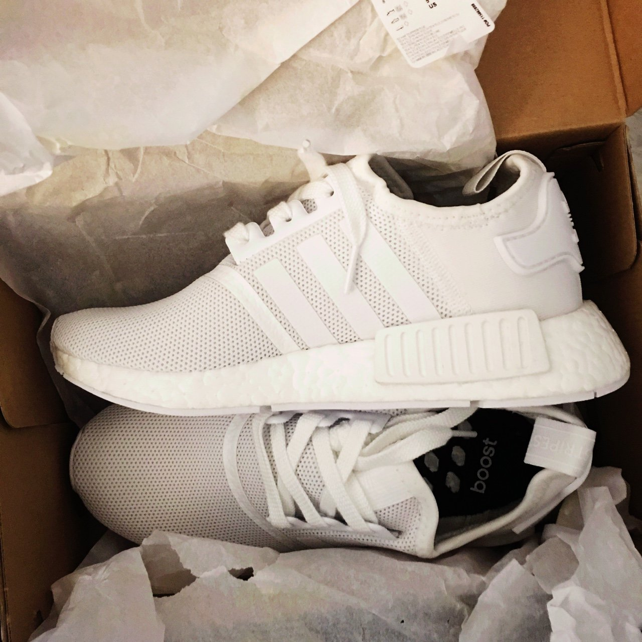PRICE DROP!!!! ADIDAS NMD R1 TRIPLE WHITE!!!! SIZE 5 in a - Depop bbf80cf800df
