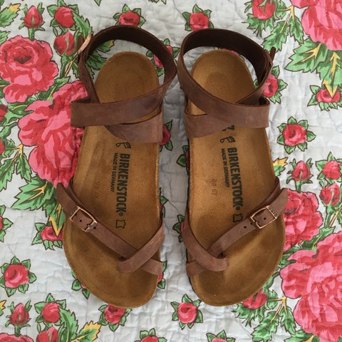8a650df24457 Yara Birkenstocks with ankle wrap in Havana. I bought these - Depop
