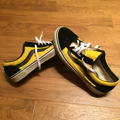 209f5ae982f Old Skool Vans black and yellow colorway. these are custom - Depop