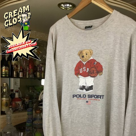 40b9d60a4ba5d2 @creamcloset. last year. Ontario, United States. VINTAGE POLO SPORT BY RALPH  LAUREN USA BASKETBALL HOODIE BEAR LONG SLEEVE TEE ...