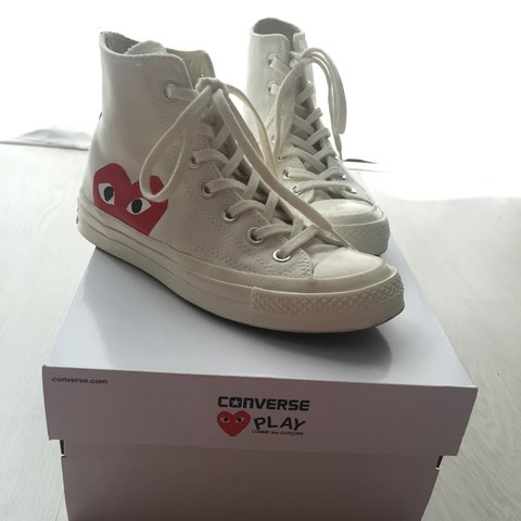 38086d2cc55 Nieuwe Comme des Garcons play converse all star hoog, wit in - Depop