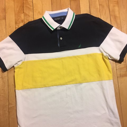 51a733157 @disfordanny. 11 months ago. Milwaukee, United States. VINTAGE NAUTICA  COLOR BLOCK POLO • LARGE ...