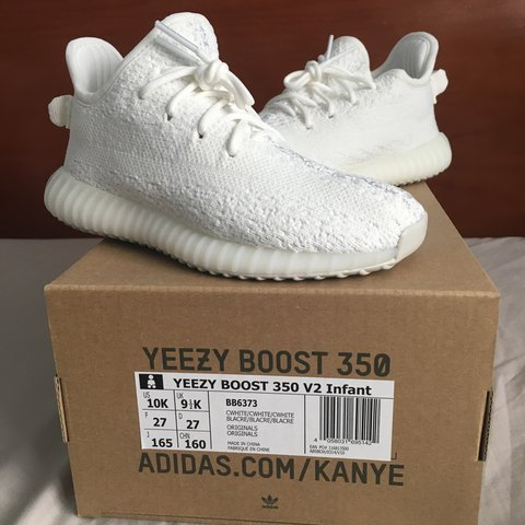 b67d6b5753d9c Yeezy Boost 350 V2 infant Cream white  all white Size out - Depop