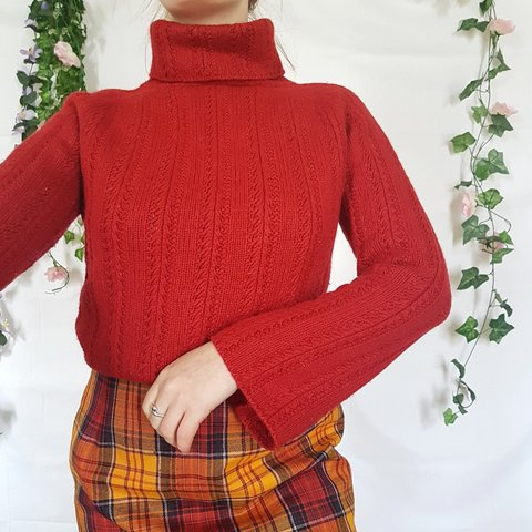 Gorgeous Deep Cherry Red Vintage Chunky Knit Roll Neck with - Depop 78df29582