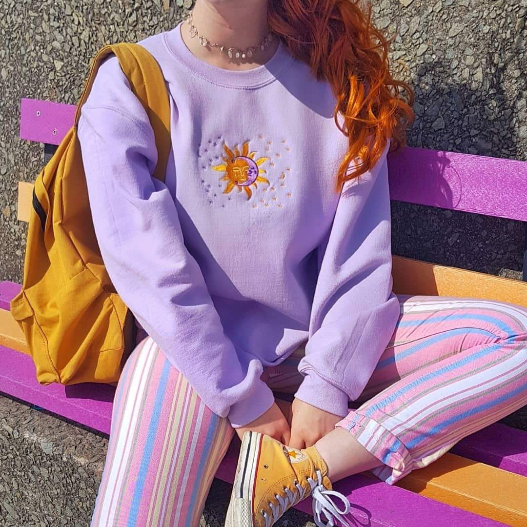 Celestial Embroidered Sweatshirt 💫🌛🌞 This Has A by Depop