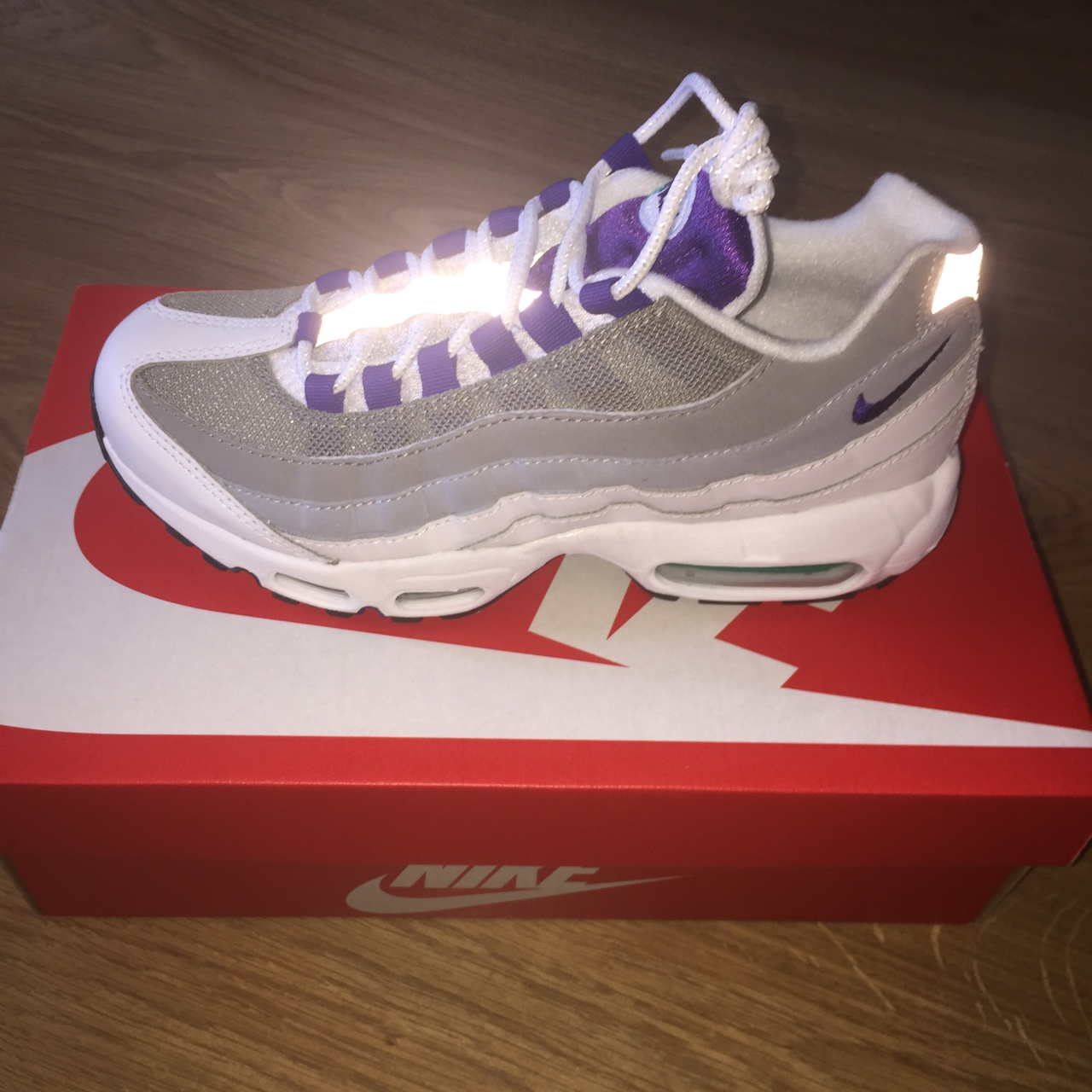 get online classic shoes shopping Nike Air Max 95 white/court purple Brand new with... - Depop