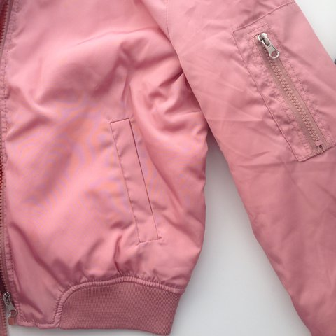 aade97a5d8b8 Light pink cropped bomber jacket from prettylittlething.