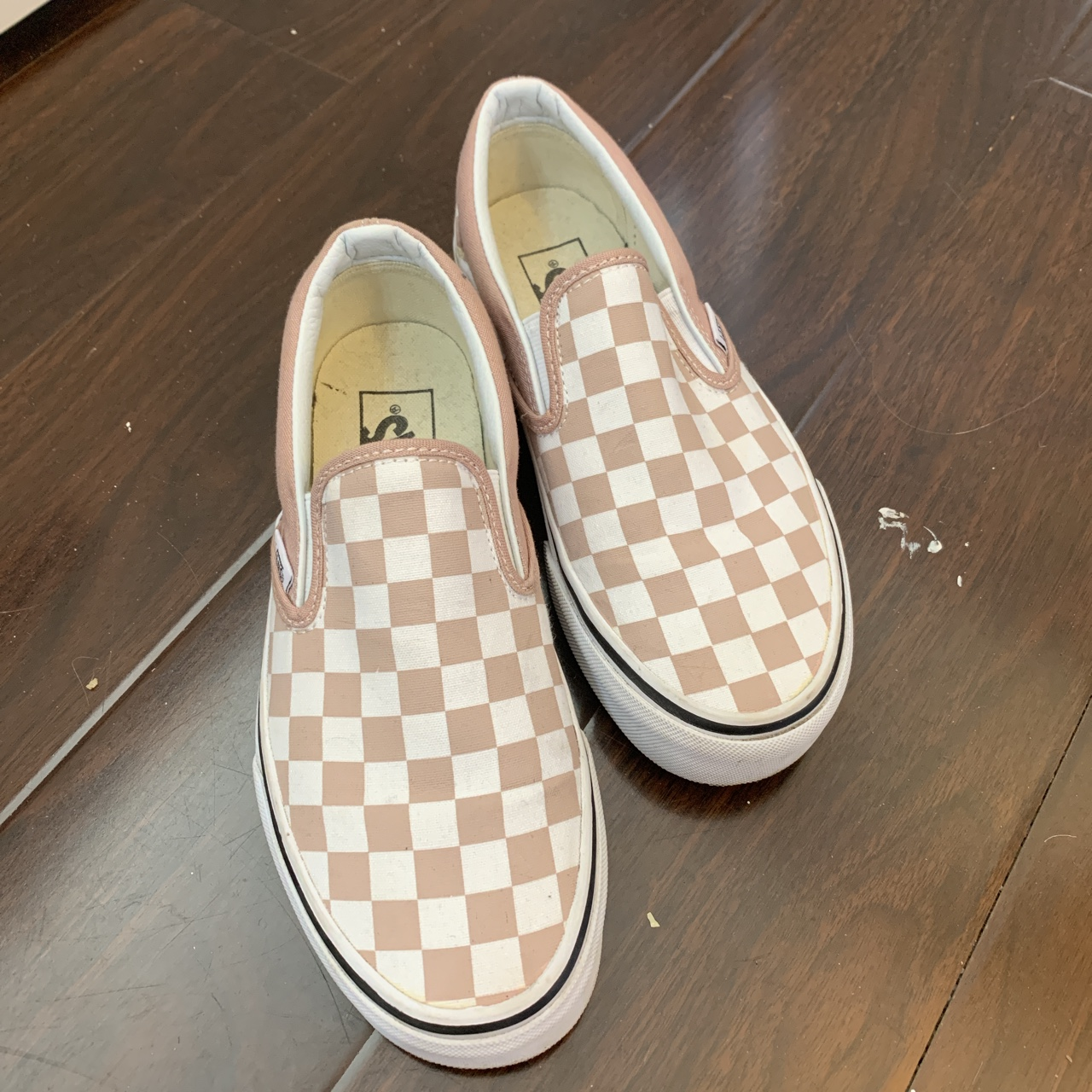nude pink checkered vans size 6 womens