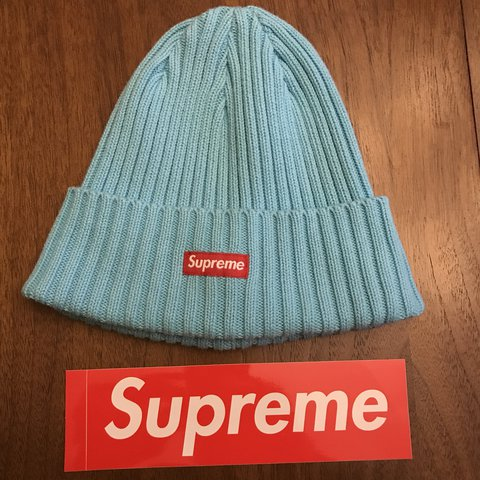 f5405e1f136  FINAL Price Drop - 2017 Supreme Beanie (light blue w red is - Depop