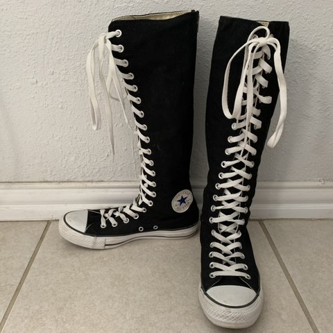 12afefcb9a3 Black knee high 20-eye Converse Chuck Taylor. Lace up in zip - Depop