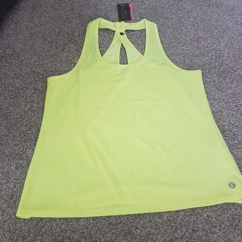 6fe728c5551fd New Look sport luminous green yellow gym top - Size would - Depop