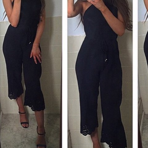 5e4ad4b1fdd6 quiz black pleated jumpsuit no damage hardly worn just for 6 - Depop