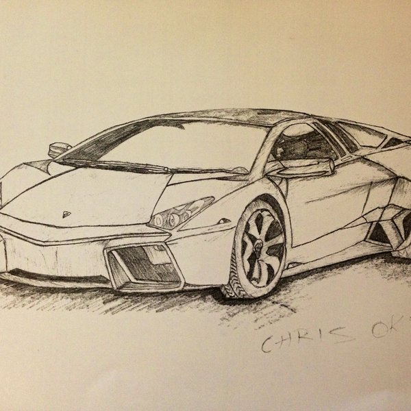 A Drawing Of Lamborghini Aventador Drawed And Shaded In 3d Depop