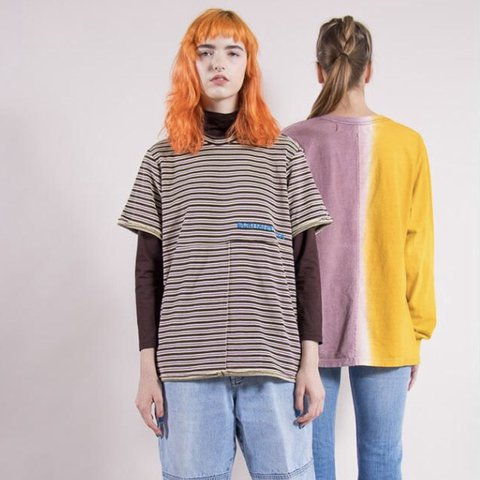 503085470a4845 Eckhaus Latta brown and lilac striped lapped tee bought from - Depop