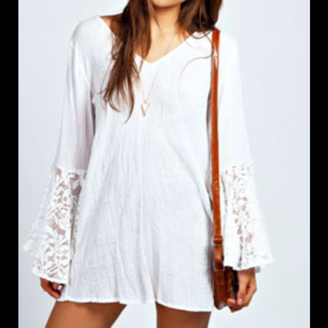 ed183b51b5b Brand new with tags white boho dress with lace bell sleeves! - Depop