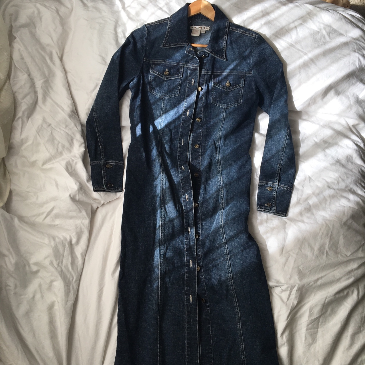 complete range of articles special discount how to find Extra long Denim Jacket. Dark wash blue with fading... - Depop