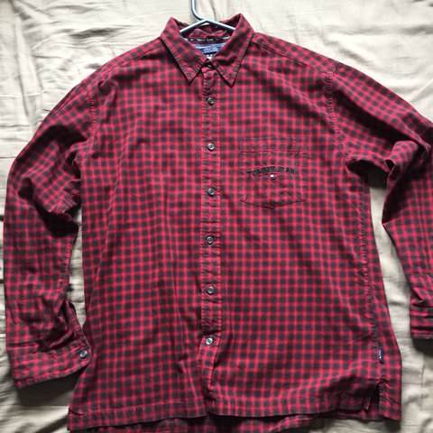05d82e84 @kaneleach. last year. Wokingham, United Kingdom. PRICE DROP! Tommy Jeans  Red Check Shirt Vintage