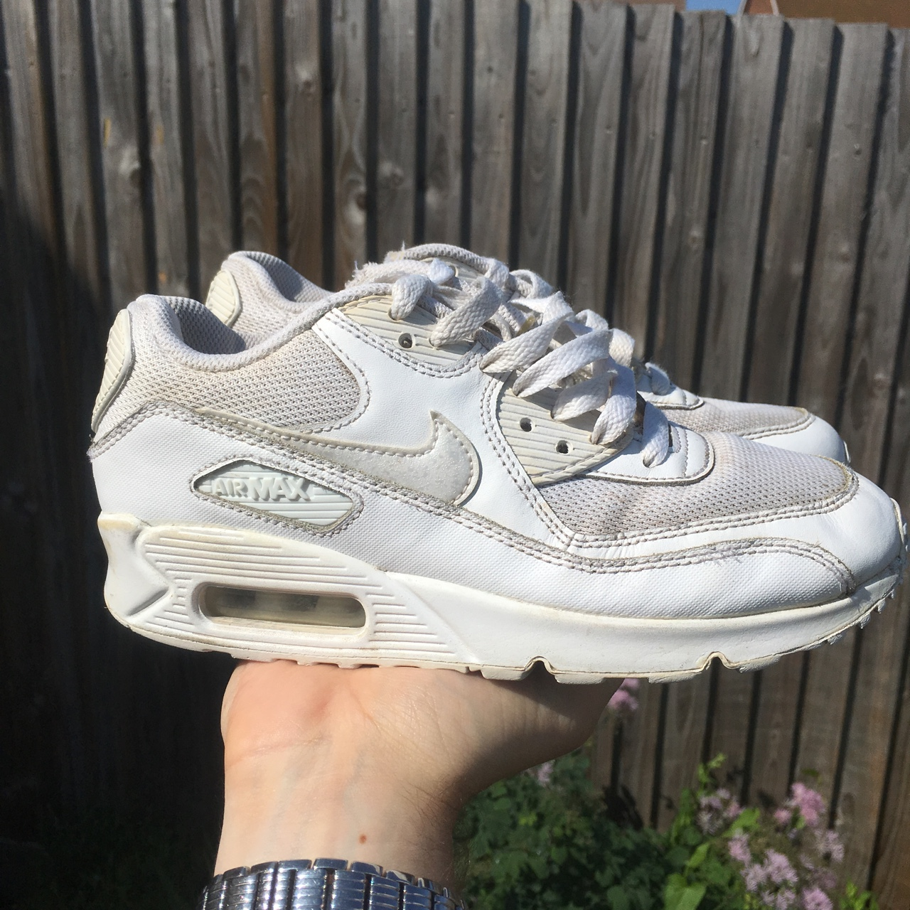 A brilliant pair of white Nike Air Max 90 trainers! Depop