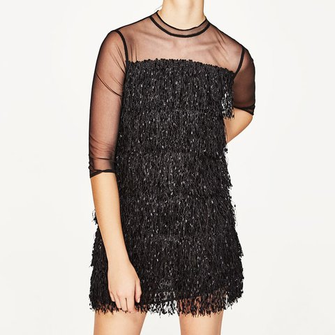 16f65067480 Zara fringe dress Brand new Zara tassel dress in black - Depop