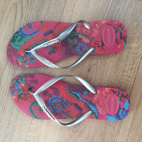 bc16be54e Genuine havaianas slim silver and pink tropical style. Worn - Depop