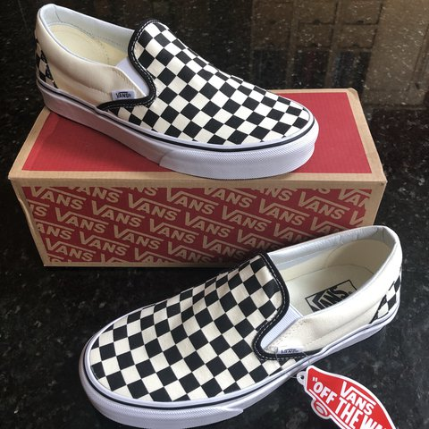 d9d57d8001ad Black and white classic checkerboard slip on Vans. UK size - Depop