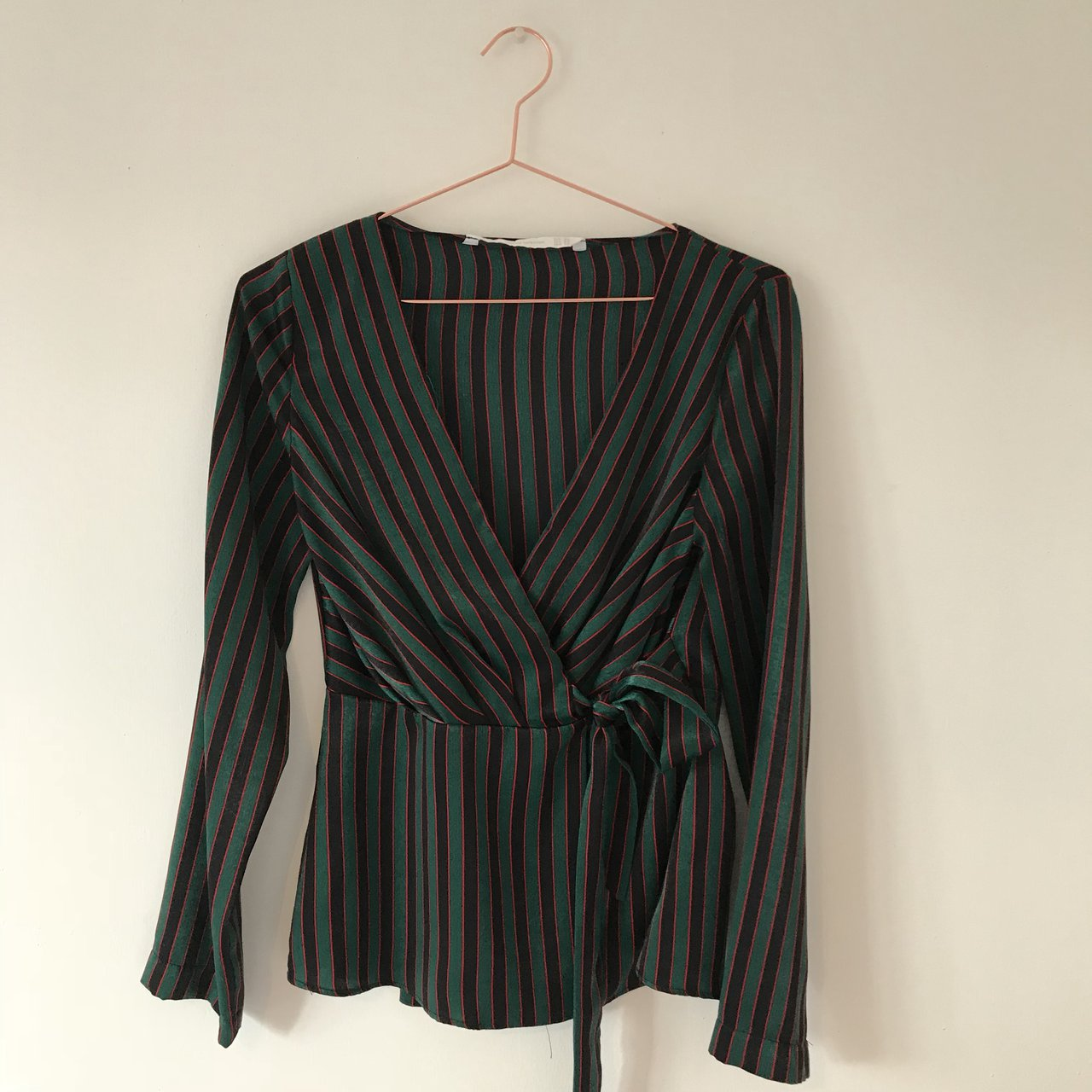 7828856e595bdc Green black red stripe silk wrap over shirt. Worn once