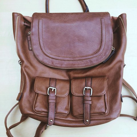 c1d301d787b ALDO Brown faux leather backpack. Great condition - with top - Depop