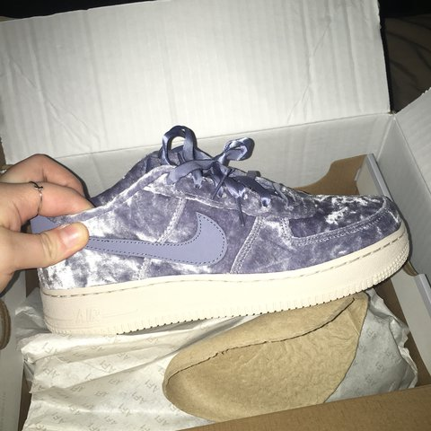 competitive price 30b4e b45c5  cassandraoxx. last year. Port Saint Lucie, United States. Baby blue velvet  Nike Air Force Ones .