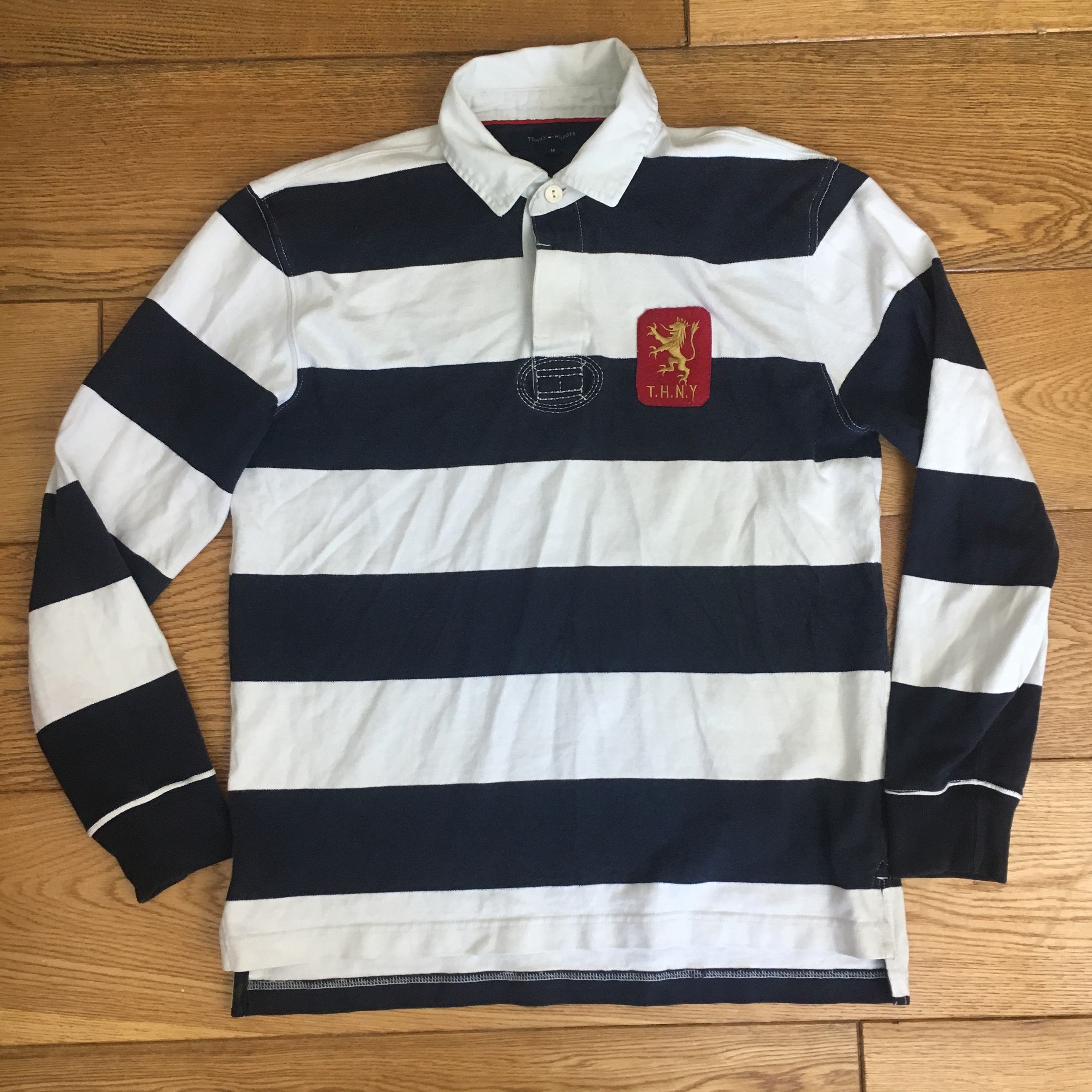 9d5567cd54576 Tommy Hilfiger Mens Blue Navy White Striped Rugby Polo Shirt - Depop