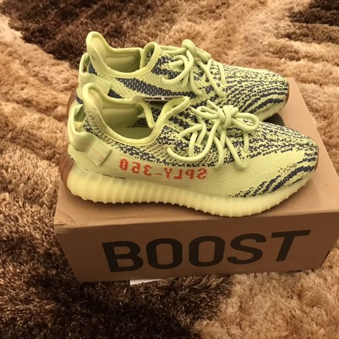 a224bbc5428 Adidas Yeezy Boost 350 V2 Semi Frozen Yellow Size UK 4.5 US - Depop