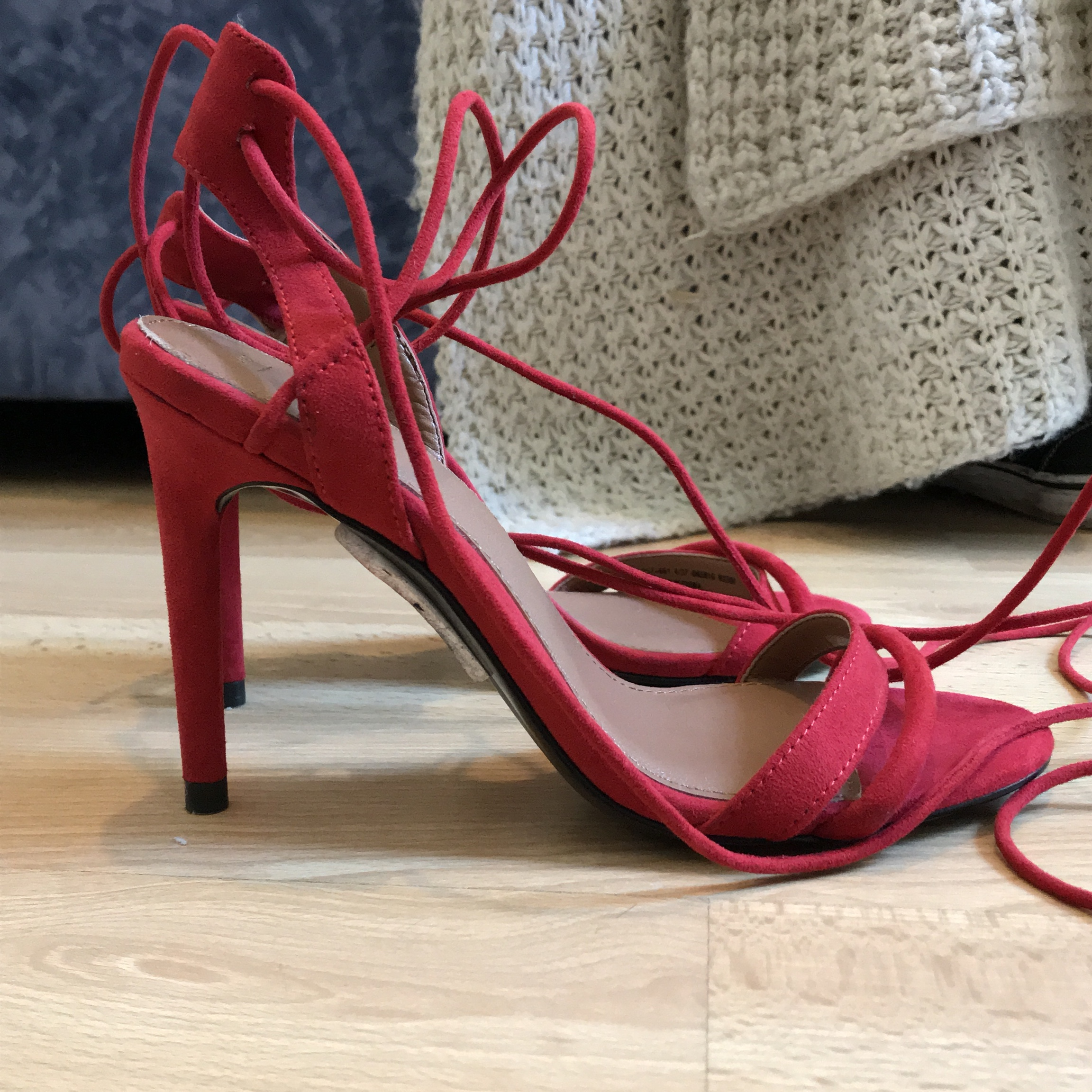 a1c0f803486 Brand new bright red suede gladiator/ strappy sandal... - Depop