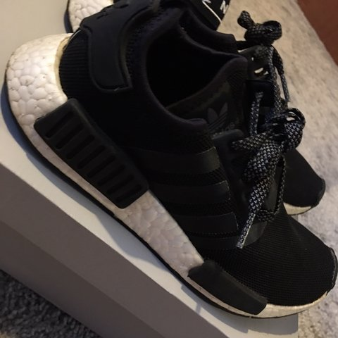 92b536392 Woman s ADIDAS NMD R1 BLACK REFLECTIVE Size 5 - Depop