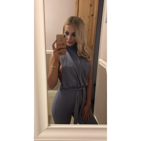 142e46f487f Selling my baby blue pretty little thing jumpsuit! Perfect - Depop