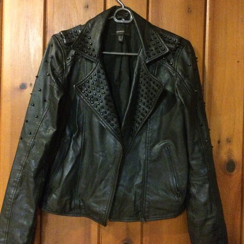 Mango Black Genuine Leather Jacket With Matte Black Studs Depop
