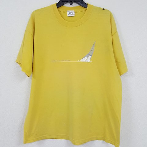 2618bd695bf7 Helly Hansen Heavy Distressed Yellow T-shirt - Distressed - Depop